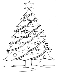 christmas tree coloring page drawing kids clip art library