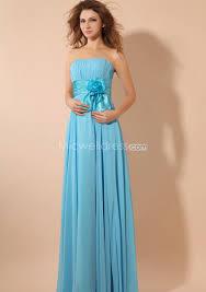 light blue strapless chiffon bridesmaid dress with floor