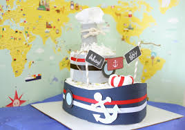 nautical boat diaper cake for baby boy baby shower centerpieces