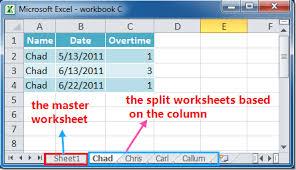 how to split data into multiple worksheets based on column in excel