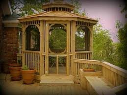 Deck Planters And Benches - screened gazebo on wooden deck matching planter and bench st