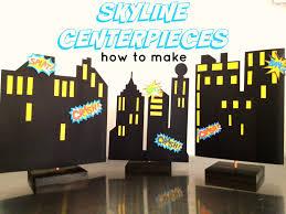 skyline superhero building centerpiece backdrop how to make diy