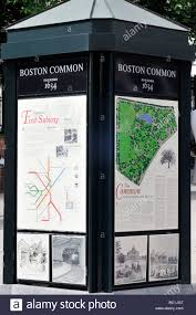 Maps And Direction Kiosk With Map And Directions At The Entrance To Boston Common