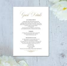 metallic wedding information card wedding details card details