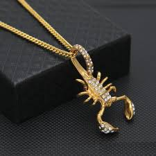 gold animal pendant necklace images Wholesale men stainless steel scorpion pendant gold color iced out jpg