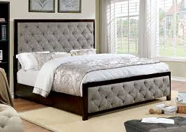 Tufted Headboard And Footboard Asterion Contemporary Style Gray Fabric Walnut Finish Size