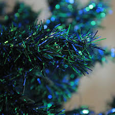 7 5 u0027 pre lit shimmering blue green peacock color theme tinsel