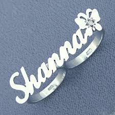 two finger name ring solid sterling silver personalized two finger name ring with butterfly