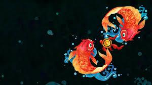 simple simple background fish digital art goldfish bubbles