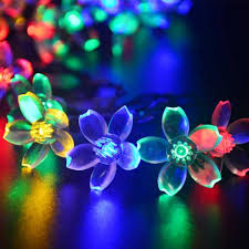 String Of Flower Lights by Flower Solar Powered Christmas Lights Multi Color 50 Led 21ft