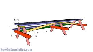 large 16 u0027 picnic table plans howtospecialist how to build