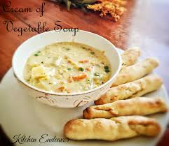 cream of vegetable soup with olive garden bread sticks