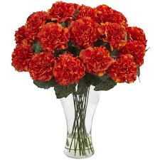 blooming carnation arrangement w vase nearly natural