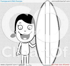 cartoon clipart black white summer surf board