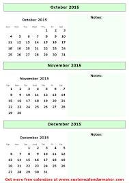 2014 calendar october november december print calendar