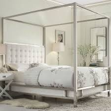 Upholstered Canopy Bed Size Metal Canopy Bed With White Faux Leather Upholstered