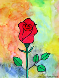 drawing and painting a rose
