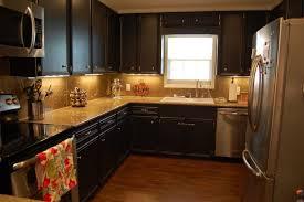 kitchen illuminated black kitchen cabinet with ceramic tile