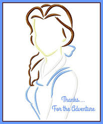 princess belle from beauty and the beast sketch digital embroidery