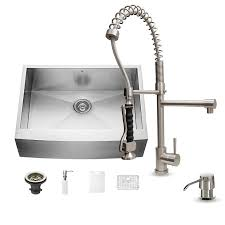 Vigo Stainless Steel Pull Out Kitchen Faucet Shop Vigo 30 0 In X 22 25 In Single Basin Stainless Steel Apron