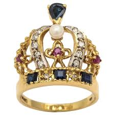 gold crown rings images Pearl ruby sapphire diamond gold crown ring for sale at 1stdibs jpeg