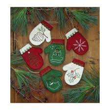 mittens kit to make six embroidered ornaments the national