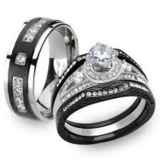 titanium wedding ring sets st2044 arti4317 his 4pc black silver stainless steel