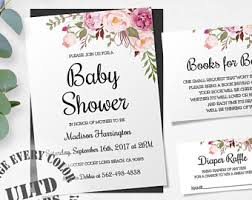baby shower invitation template set rustic floral baby shower