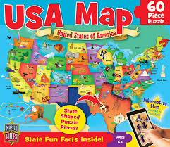 usa map jigsaw puzzle usa map puzzle 60 pieces 017063 images rainbow resource