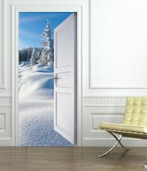 decoration murale montagne stickers porte trompe l u0027oeil montagne neige art déco stickers