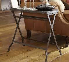 carter metal folding tray table black traditional tv end table 13 wide carter metal folding tray table pottery barn