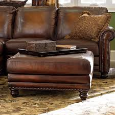 brown leather square ottoman old world brown leather ottoman bassett furniture