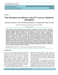 si e lib ation the relevance of a library in the 21st pdf available
