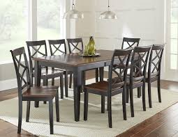 steve silver rani 9 piece dining set with two tone brown black top