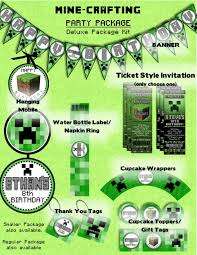 minecraft deluxe party package including ticket style invitations