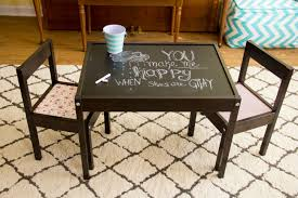 my ikea hack of a latt table dark wood stain chalkboard table