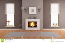 Livingroom Fireplace Modern Living Room With Fireplace Stock Illustration Image 43023424