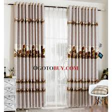 Window Curtains Sale Decorative Chinese Style Horse Pattern Gray Living Room Window