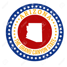 Grand Canyon Arizona Map by Vintage Stamp With Text The Grand Canyon State Written Inside