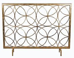 modern antique gold iron circles fireplace fire screen geometric
