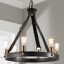 Leather Chandelier Leather Strap Mixed Metals Chandelier 6 Light Shades Of Light