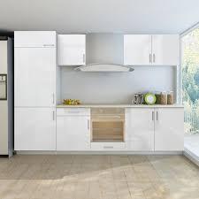 armoire de cuisine blanc brillant 7 pcs pour frigo intégré achat