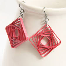 eco earrings square spiral swirl geometric pink by honeysquilling on zibbet