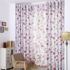 Cotton Curtains And Drapes White Cotton And Poly Blending Floral Printing Curtains Drapes