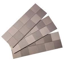 gel tile backsplash aspect square matted 12 in x 4 in metal decorative tile