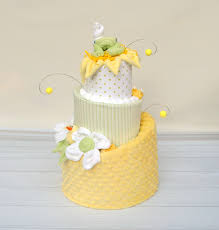 diaper cakes gender neutral baby gifts yellow and green baby