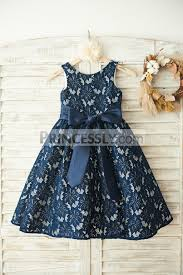 navy blue lace wedding flower dress with belt
