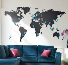 World Map Wall Sticker by Living Room With Velvet Blue Sofa And World Map Vinyl Wall Sticker