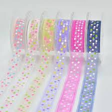 organza ribbon wholesale wholesale 25mm polka dot ribbon printed organza ribbon with weave