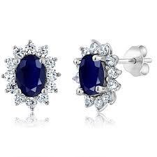 blue stud earrings sterling silver genuine blue sapphire women s jewelry stud